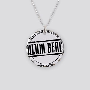 Tulum Beach Title W Necklace Circle Charm
